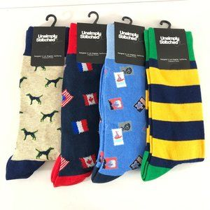 Lot of 4 Unsimply Stitched Crew Socks Novelty Flag